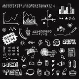 Elementi grafici e fonte di informazioni disegnate a mano di scarabocchio Fotografia Stock Libera da Diritti