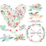 Elementi grafici floreali di nozze Etichette, nastri, cuori, frecce, fiori, corone, alloro Fotografia Stock Libera da Diritti