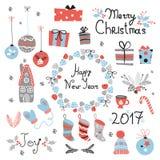 Elementi grafici messi Natale con la corona, il dolce, la casa di pan di zenzero, i guanti, i giocattoli, i regali ed i calzini Fotografia Stock