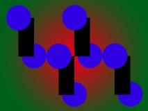 Elementi grafici su un fondo verde con la messa in evidenza rossa Immagini Stock