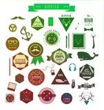 Elementi, icone ed etichette di stile dei pantaloni a vita bassa Immagini Stock