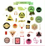 Elementi, icone ed etichette di stile dei pantaloni a vita bassa Fotografia Stock
