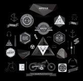 Elementi, icone ed etichette di stile dei pantaloni a vita bassa Fotografia Stock Libera da Diritti