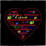 Elementi imprecisi di progettazione di scarabocchi dei cuori di amore su Sketchboo allineato Fotografia Stock