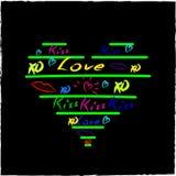 Elementi imprecisi di progettazione di scarabocchi dei cuori di amore su Sketchboo allineato Immagini Stock