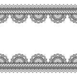 Elementi indiani del confine del hennè di mehndi con la carta di modello dei fiori per il tatuaggio su fondo bianco illustrazione vettoriale