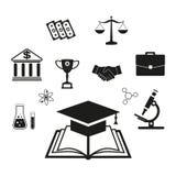 Elementi infographic di istruzione che imparano gli studenti Apra il libro di conoscenza, di nuovo alla scuola, vario materiale d Immagine Stock