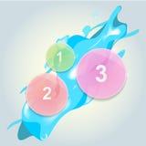 Elementi infographic di vetro del cerchio con la spruzzata dell'acqua Fotografie Stock