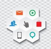 Elementi inforgaphic dell'icona esagonale astratta di web Fotografie Stock