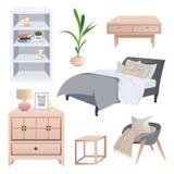 Elementi interni scandinavi accoglienti Insieme di interior design di Hygge royalty illustrazione gratis