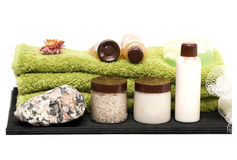Elementi isolati della stazione termale del bagno su bianco Immagini Stock