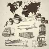 Elementi isolati disegnati a mano di logistica Immagini Stock