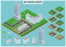Elementi isometrici del creatore della mappa per la costruzione della città illustrazione di stock