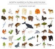 Elementi isometrici della flora e di fauna di 3d Nord America Animali, Bi illustrazione di stock
