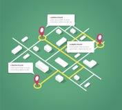 Elementi isometrici di progettazione della mappa della città Immagini Stock Libere da Diritti