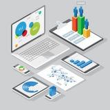 Elementi isometrici di progettazione di infographics Fotografia Stock