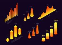 Elementi isometrici per infographic e rapporto, grafici, onde e colonne Statistiche dei dati, rapporto finanziario royalty illustrazione gratis
