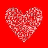 Elementi medici di disegno nella figura del cuore Fotografia Stock Libera da Diritti