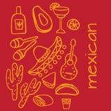 Elementi messicani, elementi del de Mayo di cinco, festa del Messico Fotografie Stock Libere da Diritti