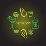 Elementi messicani, elementi del de Mayo di cinco, festa del Messico, avacado, alcool messicano - tequila, margarita Fotografia Stock Libera da Diritti