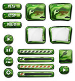 Elementi militari delle icone di Camo per il gioco di Ui Fotografia Stock Libera da Diritti