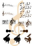 Elementi musicali di disegno Fotografie Stock