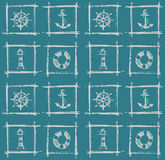 Elementi nautici del mare, modello di schizzo Immagine Stock Libera da Diritti