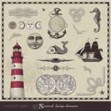 Elementi nautici di disegno Immagini Stock