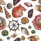 Elementi nautici Modello dell'acquerello Fotografia Stock