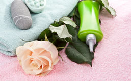 Elementi per i trattamenti della stazione termale, massaggi. Immagini Stock