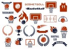 Elementi per il club di sport, progettazione del gioco di pallacanestro del gruppo Fotografia Stock Libera da Diritti