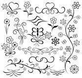 Elementi per il disegno (fiore, farfalla, cuore), vettore Fotografia Stock Libera da Diritti