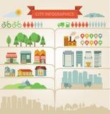 Elementi per il infographics circa la città ed il villaggio Immagini Stock Libere da Diritti