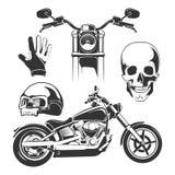 Elementi per le etichette del motociclista Immagini Stock Libere da Diritti