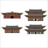Elementi piani del fumetto di progettazione del paese della Corea del Sud Punto di riferimento di viaggio, posto di turismo di Se Fotografia Stock Libera da Diritti