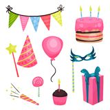 Elementi piani della festa di compleanno di vettore Bandiere della stamina del triangolo, dolce, pallone lucido, lecca-lecca, big Royalty Illustrazione gratis
