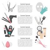 Elementi piani di progettazione di cosmetologia, di lavoro di parrucchiere, di trucco e del manicure Immagini Stock