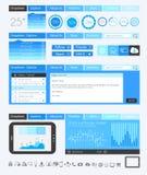 Elementi piani di progettazione di UI per il web, Infographics Immagine Stock