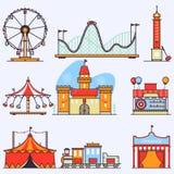 Elementi piani di vettore del parco di divertimenti isolati su fondo bianco Illustrazioni lineari di stile isolate su bianco Fotografie Stock