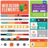 Elementi piani di web design. Fotografia Stock Libera da Diritti