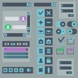 Elementi piani di web design, bottoni, icone Fotografie Stock Libere da Diritti