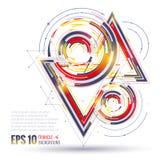 Elementi poligonali geometrici Concetto futuro scientifico di tecnologia Modello con i triangoli Elementi di Infographic royalty illustrazione gratis