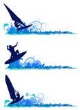 Elementi praticanti il surfing di disegno Fotografia Stock