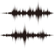 Elementi quadrati di semitono di vettore. Onde sonore di vettore Fotografie Stock