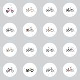 Elementi realistici del ciclo-cross e alla moda dell'azionamento, vecchi ed altro di vettore L'insieme dei simboli realistici del Fotografia Stock Libera da Diritti