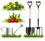 Elementi relativi di giardinaggio Immagine Stock Libera da Diritti