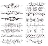 Elementi romantici con i cuori e le foglie royalty illustrazione gratis