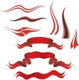 Elementi rossi decorativi Immagini Stock Libere da Diritti