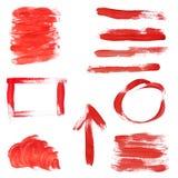Elementi rossi di disegno della vernice Immagine Stock Libera da Diritti