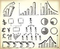 Elementi scribacchiati di affari illustrazione di stock